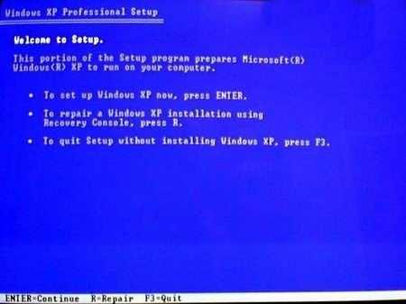 Screenshot to Fix an Unbootable Windows XP